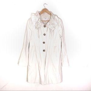 Ann Taylor Loft Cream Trench Coat Ruffled Neck